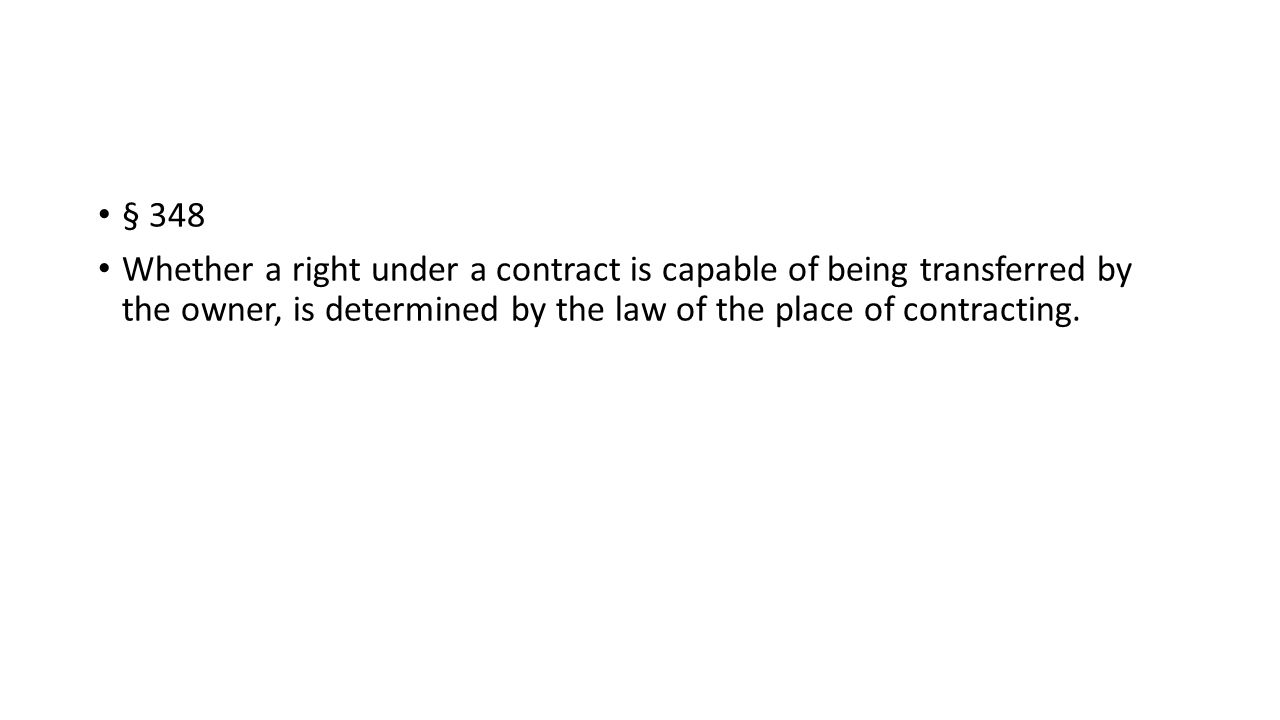 § 348 Whether a right under a contract is capable of being transferred by the owner, is determined by the law of the place of contracting.