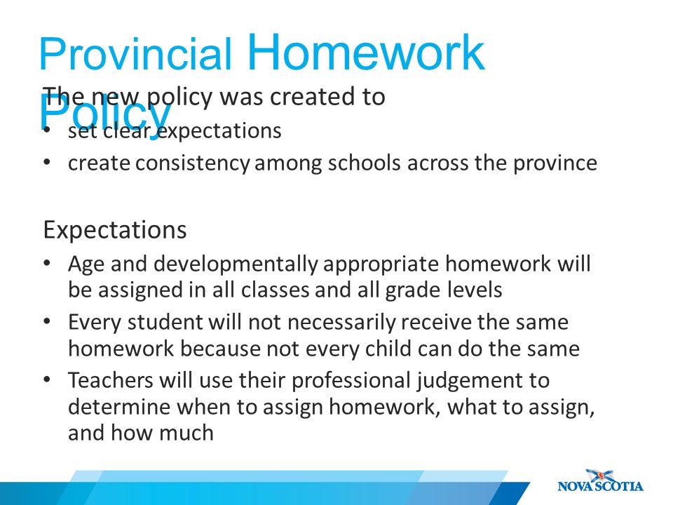 new homework policy hrsb