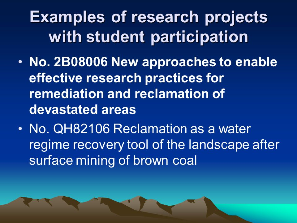 Student Research Projects  Department of Environmental