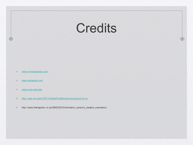 Credits www.irisrecognition.com www.wikipedia.com www.csse.uwa.edu http://web.mit.edu/6.857/OldStuff/Fall95/lectures/lecture10.ps http://www.theregister.co.uk/2002/05/23/biometric_sensors_beaten_senseless/