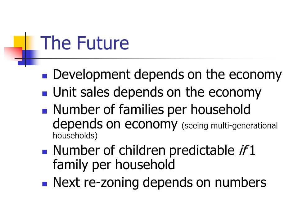 The Future Development depends on the economy Unit sales depends on the economy Number of families per household depends on economy (seeing multi-generational households) Number of children predictable if 1 family per household Next re-zoning depends on numbers