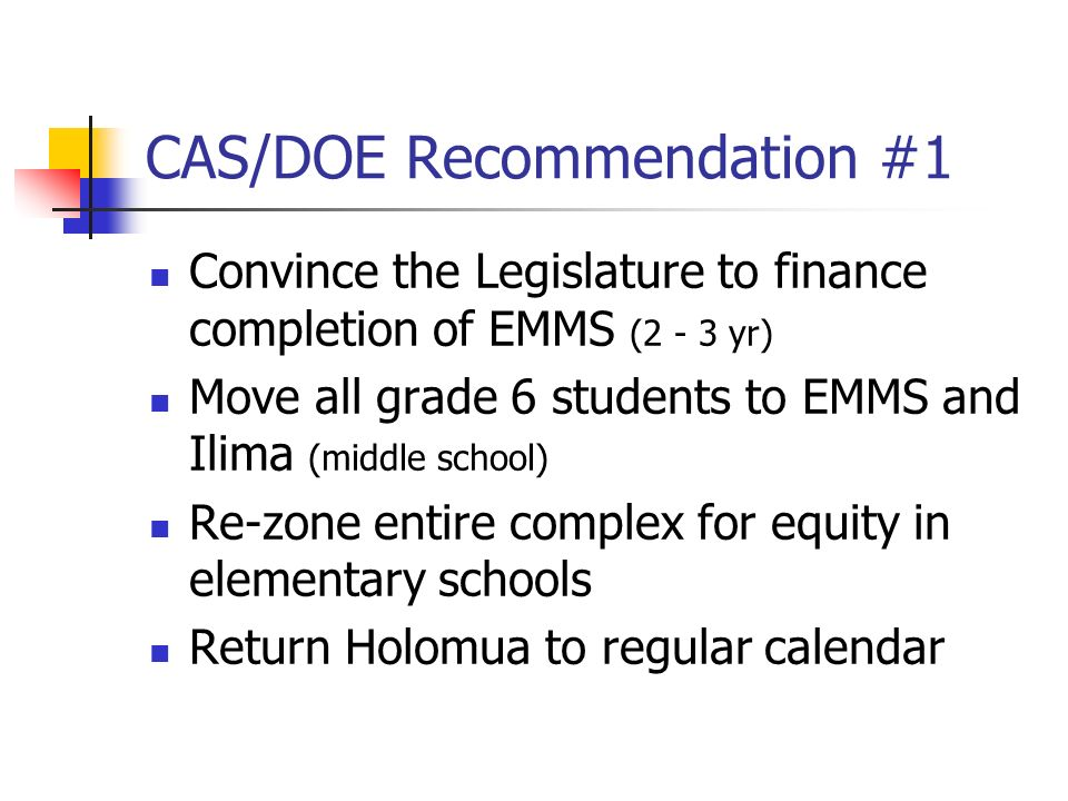 CAS/DOE Recommendation #1 Convince the Legislature to finance completion of EMMS (2 - 3 yr) Move all grade 6 students to EMMS and Ilima (middle school) Re-zone entire complex for equity in elementary schools Return Holomua to regular calendar