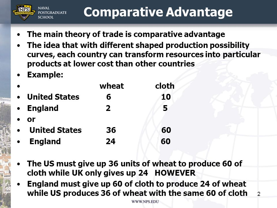 NS3040 Winter Term 2015 Trade Theories. Comparative Advantage The ...