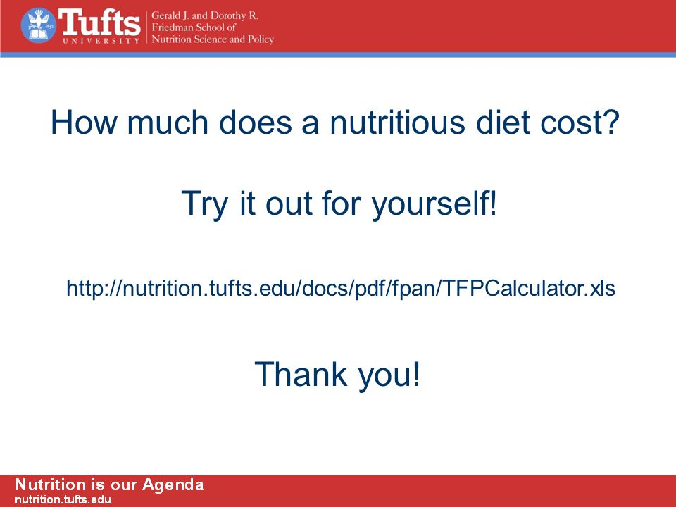 http://nutrition.tufts.edu/docs/pdf/fpan/TFPCalculator.xls How much does a nutritious diet cost.