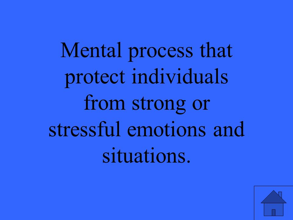 Mental process that protect individuals from strong or stressful emotions and situations.