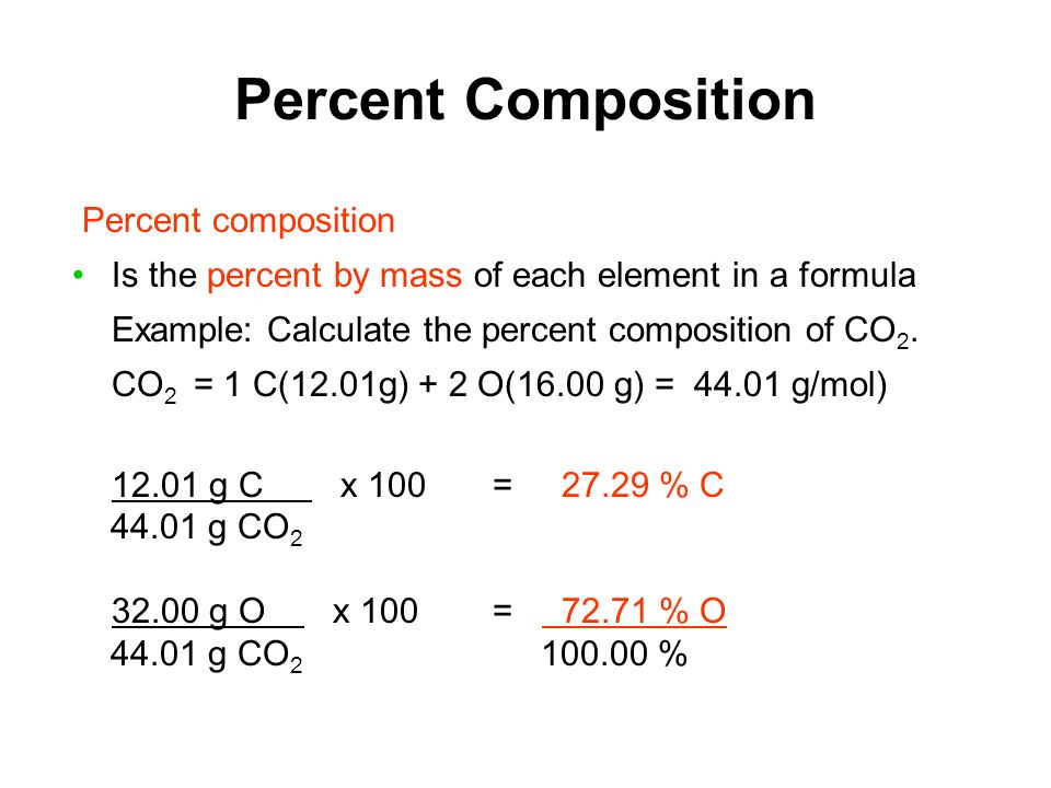 Percent Composition Percent composition Is the percent by mass of each element in a formula Example: Calculate the percent composition of CO 2.