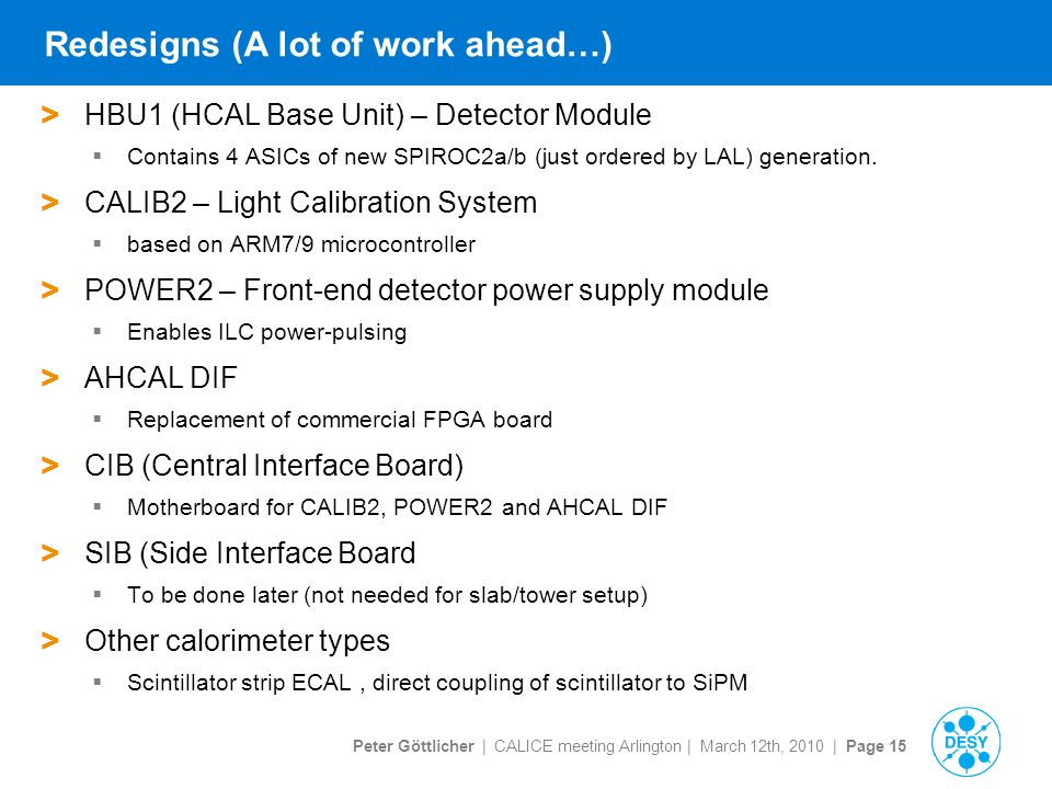 Peter Göttlicher | CALICE meeting Arlington | March 12th, 2010 | Page 15 Redesigns (A lot of work ahead…) > HBU1 (HCAL Base Unit) – Detector Module  Contains 4 ASICs of new SPIROC2a/b (just ordered by LAL) generation.