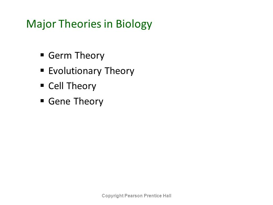 Major Theories in Biology  Germ Theory  Evolutionary Theory  Cell Theory  Gene Theory