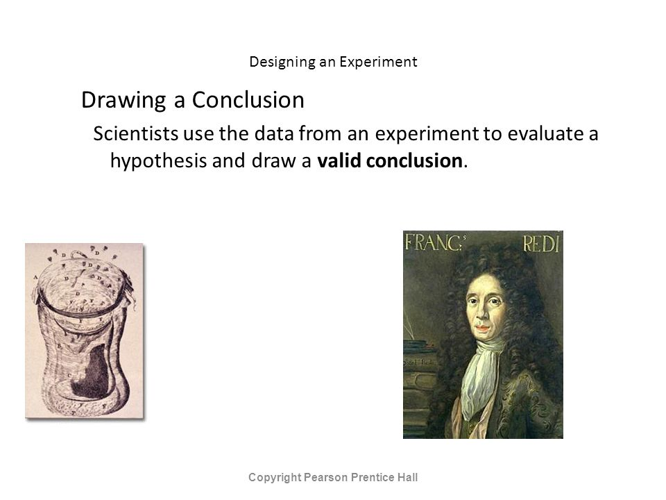 Designing an Experiment Drawing a Conclusion Scientists use the data from an experiment to evaluate a hypothesis and draw a valid conclusion.