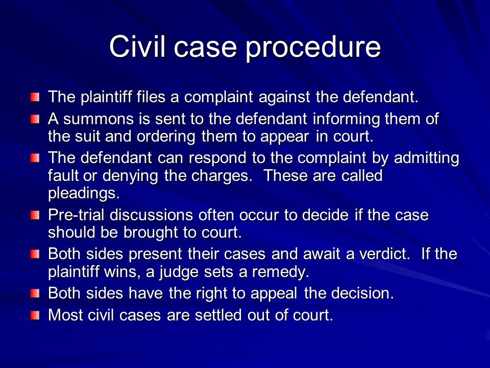 Civil case procedure The plaintiff files a complaint against the defendant.
