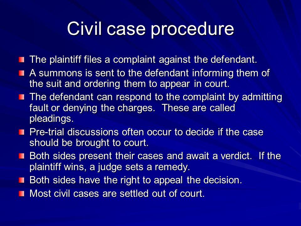 Civil case procedure The plaintiff files a complaint against the defendant.