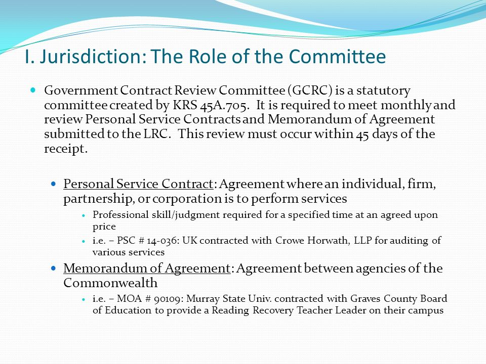 Personal Service Contracts  Memoranda Of Agreement Committee