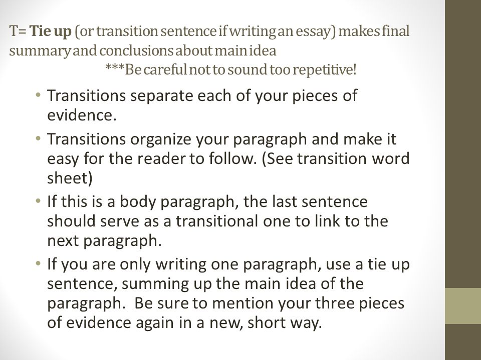 conclusion sentences in essays A conclusion is, in some ways, like your introduction you restate your thesis and summarize your main points of evidence for the readeryou can usually do this in one paragraph in the following example, the thesis statement is in bold notice that it is written in 2 sentences.