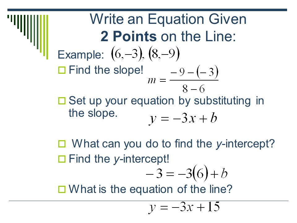 How To Write An Equation For Slope And Y Intercept Frownmail