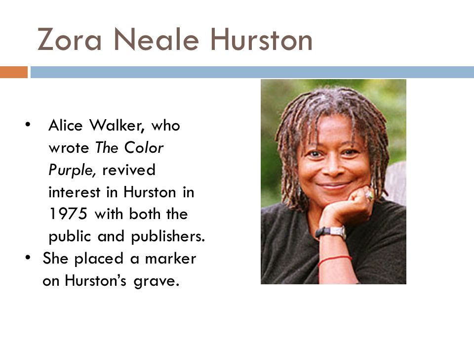Zora Neale Hurston Alice Walker, who wrote The Color Purple, revived interest in Hurston in 1975 with both the public and publishers.