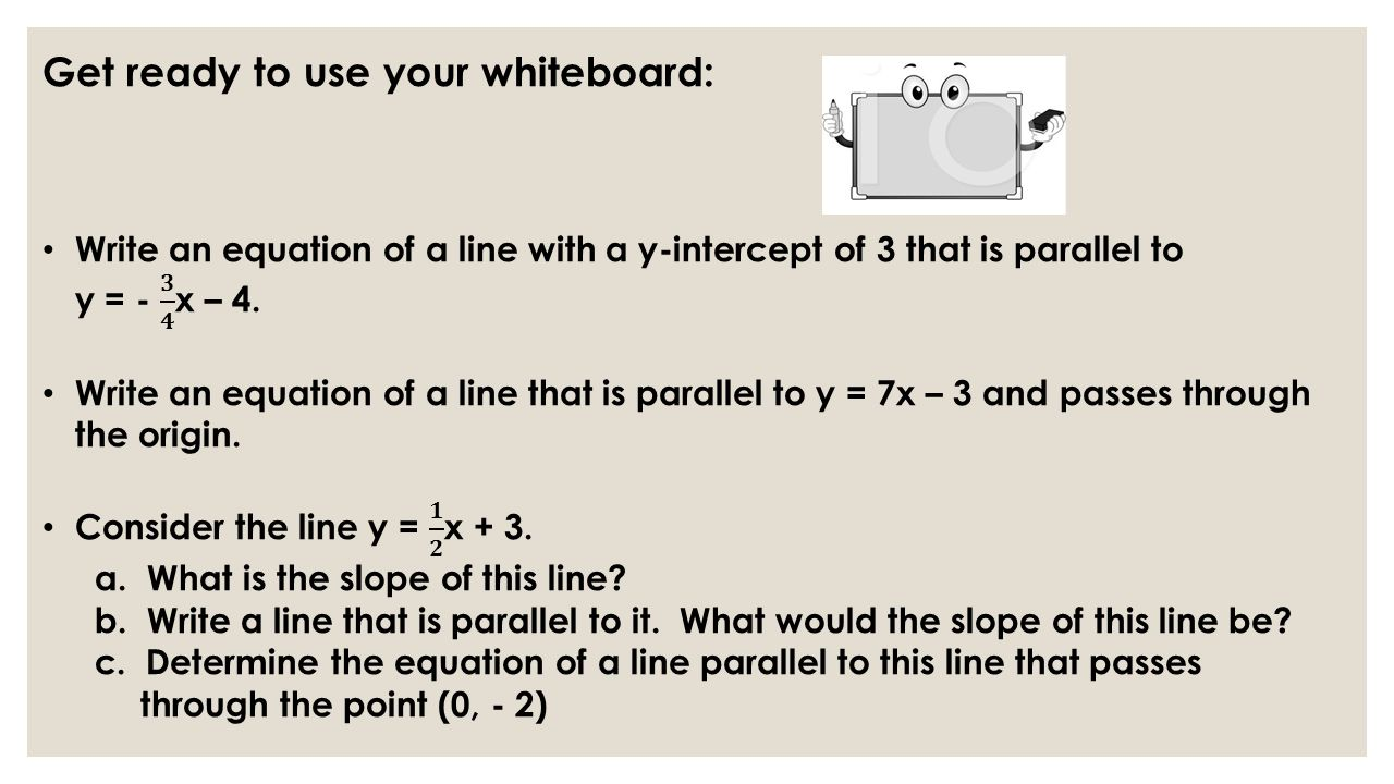 Parallel and perpendicular lines what is the slope and the y 8 now complete the second section of your worksheet 7 12 discovering perpendicular lines you will have about 10 minutes be ready to articulate your falaconquin