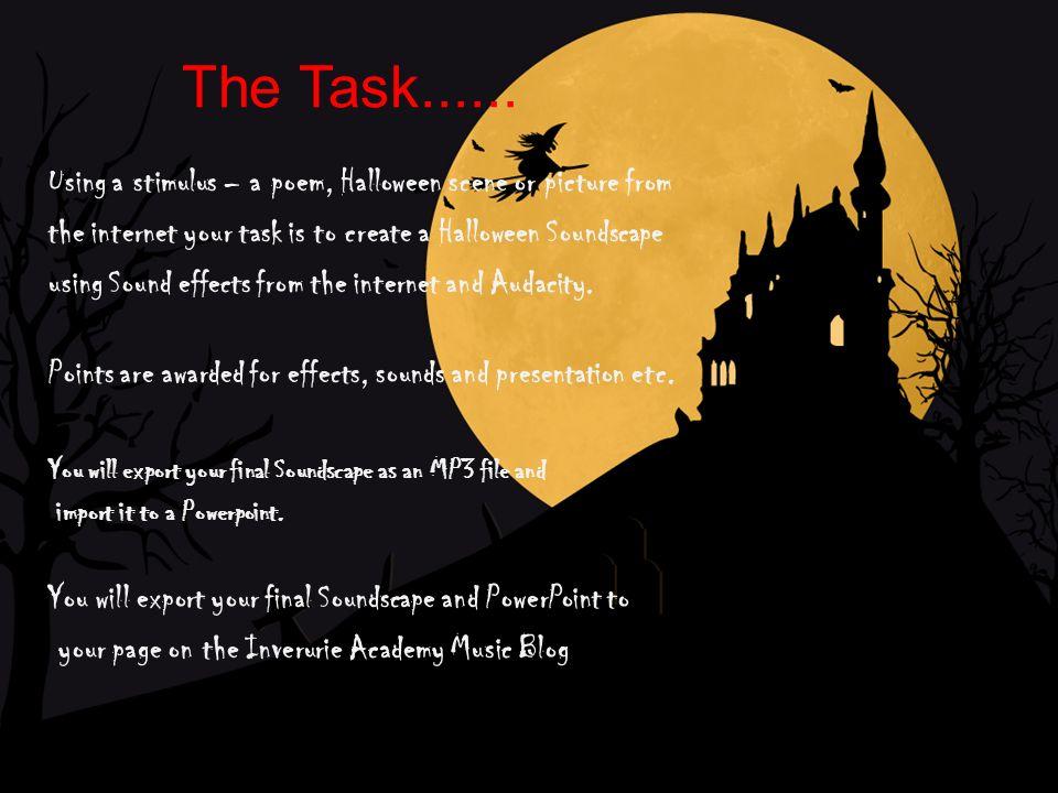2 the task - Halloween Wav Files
