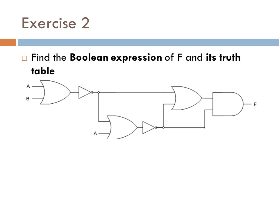 Exercise 2  Find the Boolean expression of F and its truth table