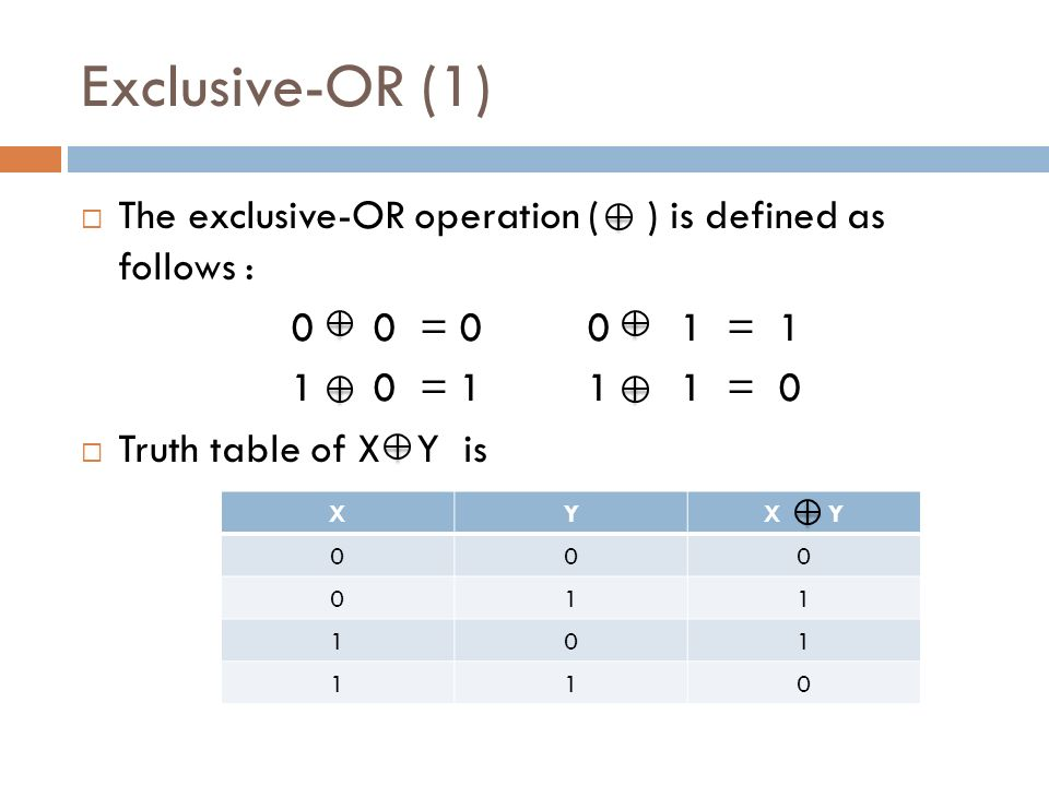 XYX Y Exclusive-OR (1)  The exclusive-OR operation ( ) is defined as follows : 0 0 = = = = 0  Truth table of X Y is