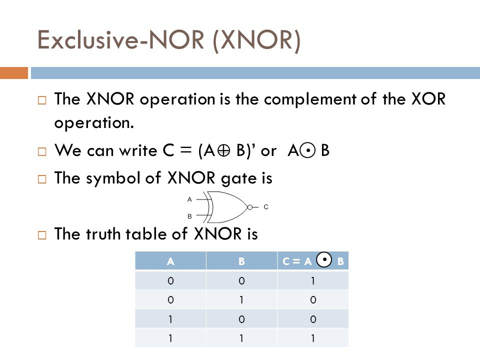 Exclusive-NOR (XNOR)  The XNOR operation is the complement of the XOR operation.
