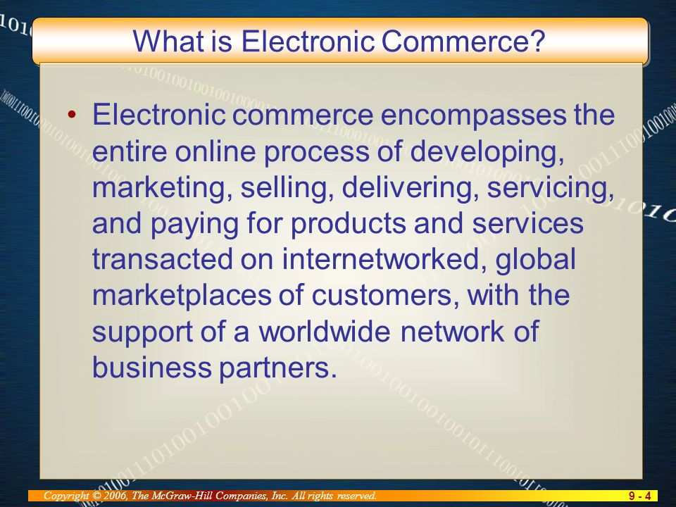 9 - 5 Copyright © 2006, The McGraw-Hill Companies, Inc. All rights reserved. Scope of e-Commerce