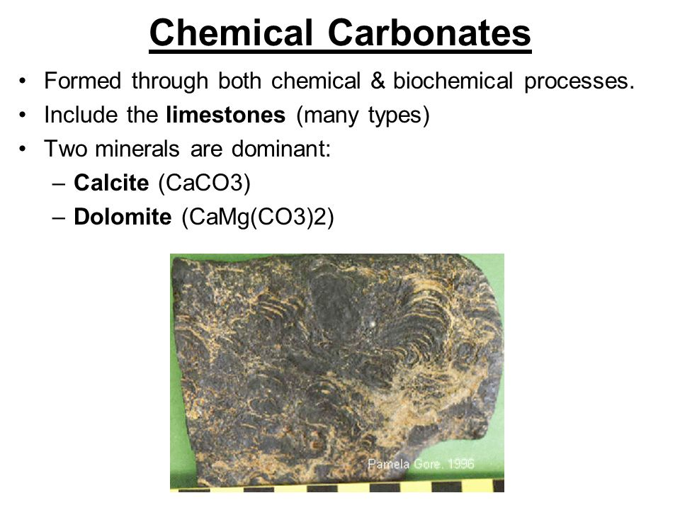 Chemical Carbonates Formed through both chemical & biochemical processes.