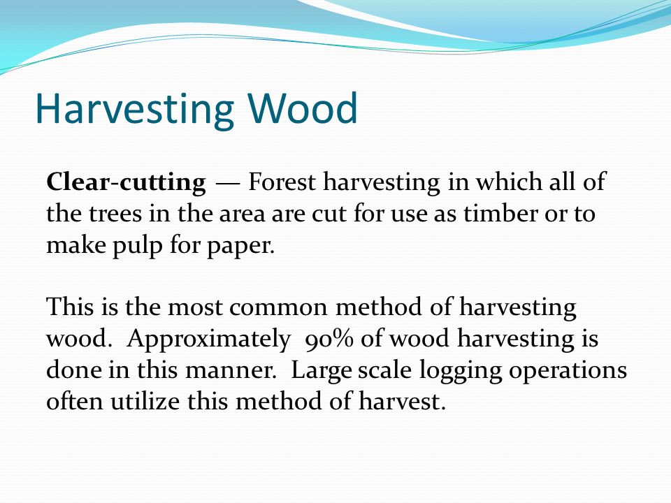 Harvesting Wood Clear-cutting — Forest harvesting in which all of the trees in the area are cut for use as timber or to make pulp for paper.