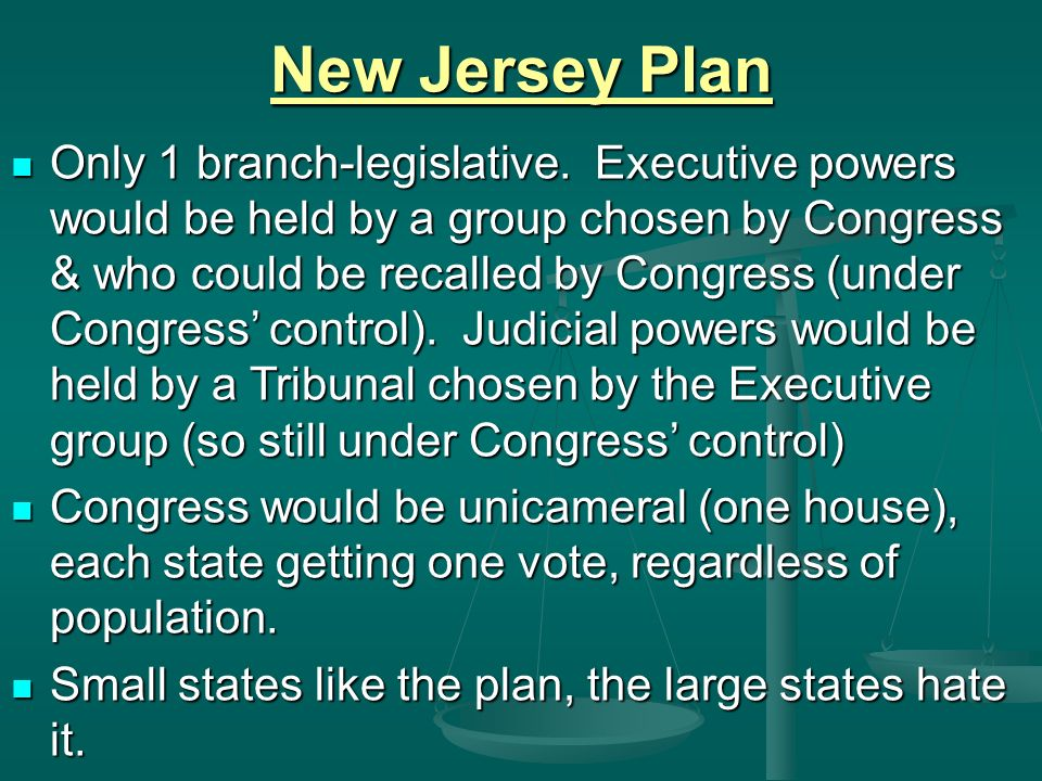 New Jersey Plan Only 1 branch-legislative.