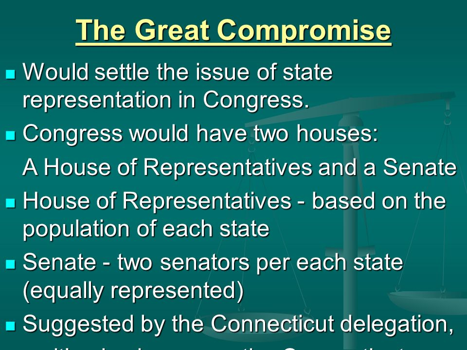 The Great Compromise Would settle the issue of state representation in Congress.