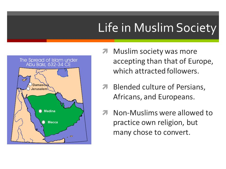 Life in Muslim Society  Muslim society was more accepting than that of Europe, which attracted followers.