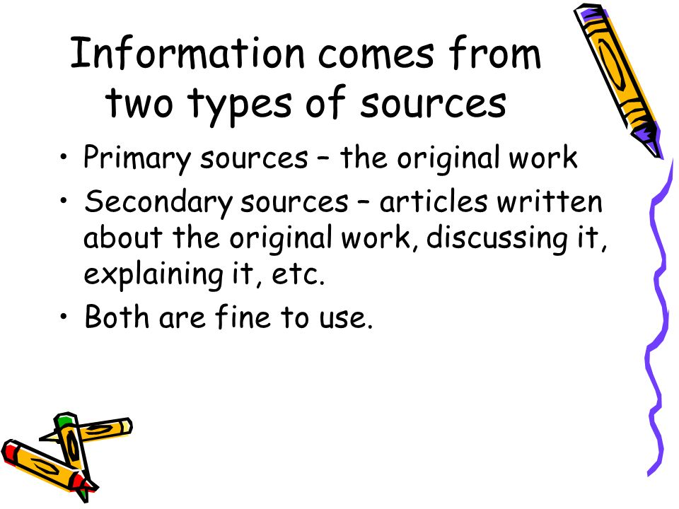 types of sources for research paper Citing sources when writing a research paper, it is important to cite the sources you used in a way such that a reader could find them.