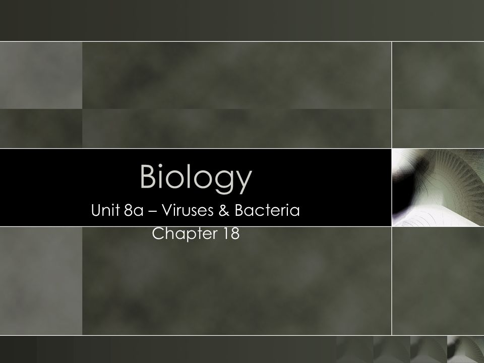 Biology Unit 8a – Viruses & Bacteria Chapter 18
