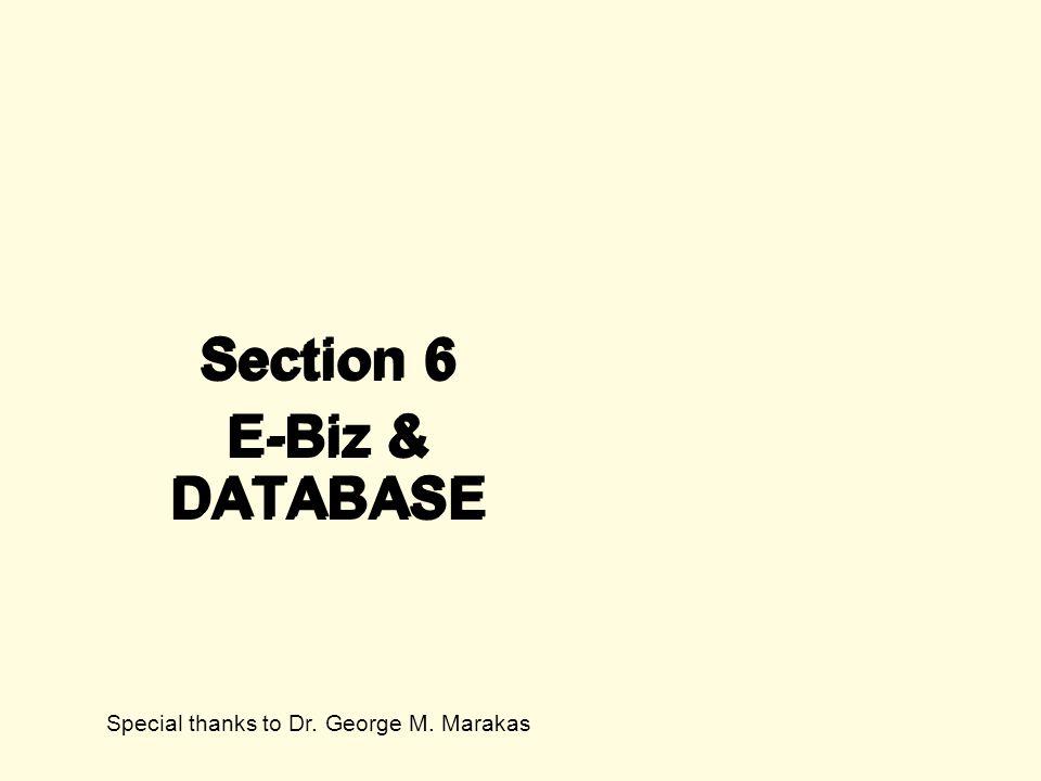 Section 6 E-Biz & DATABASE Section 6 E-Biz & DATABASE Special thanks to Dr. George M. Marakas
