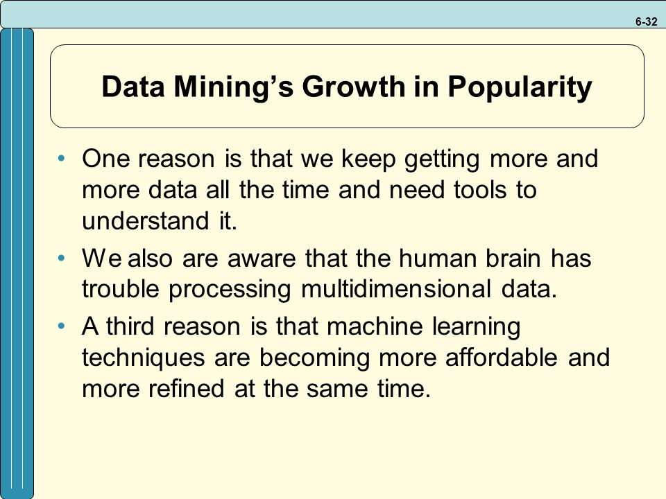 6-32 Data Mining's Growth in Popularity One reason is that we keep getting more and more data all the time and need tools to understand it.