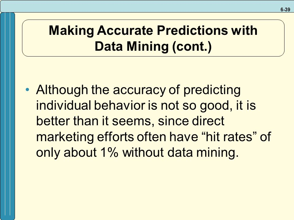 6-39 Making Accurate Predictions with Data Mining (cont.) Although the accuracy of predicting individual behavior is not so good, it is better than it seems, since direct marketing efforts often have hit rates of only about 1% without data mining.