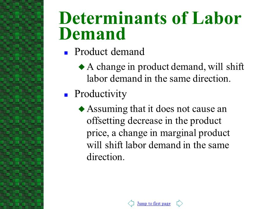 Jump to first page n Product demand u A change in product demand, will shift labor demand in the same direction.
