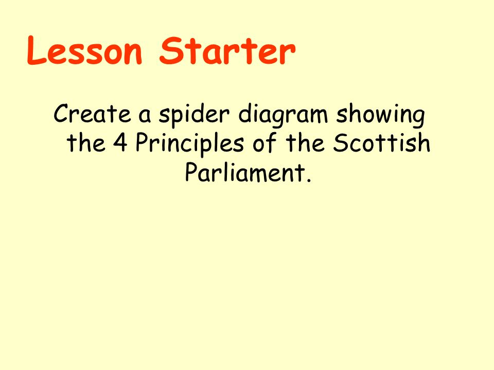 lesson starter create a spider diagram showing the  principles of    lesson starter create a spider diagram showing the  principles of the scottish parliament