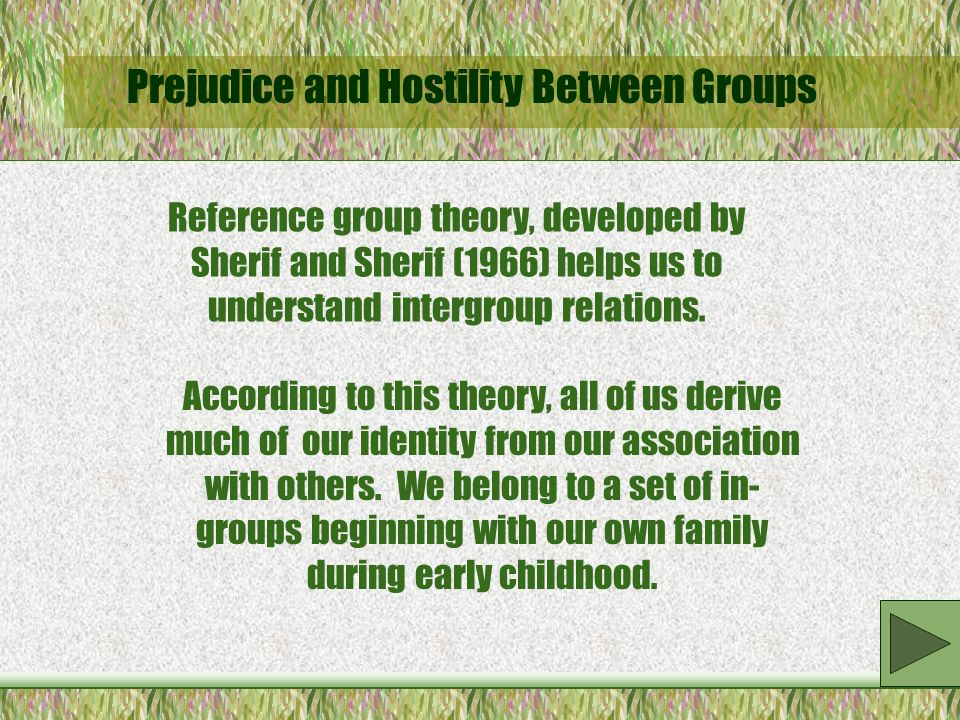 Prejudice and Hostility Between Groups Reference group theory, developed by Sherif and Sherif (1966) helps us to understand intergroup relations.