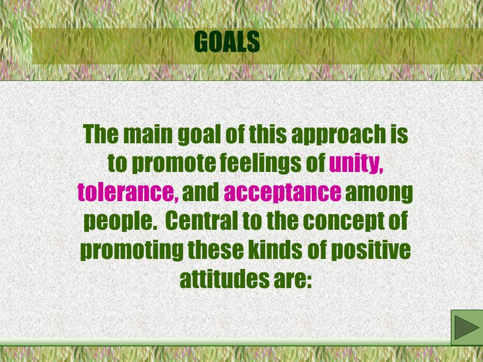 GOALS The main goal of this approach is to promote feelings of unity, tolerance, and acceptance among people.