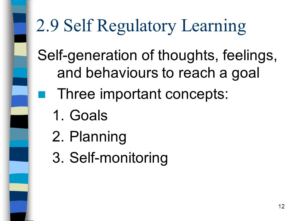 12 2.9 Self Regulatory Learning Self-generation of thoughts, feelings, and behaviours to reach a goal Three important concepts: 1.Goals 2.Planning 3.S