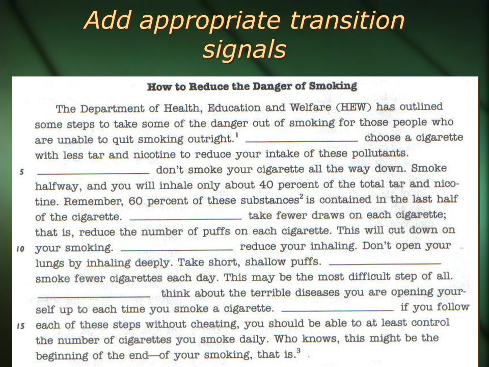 Add appropriate transition signals