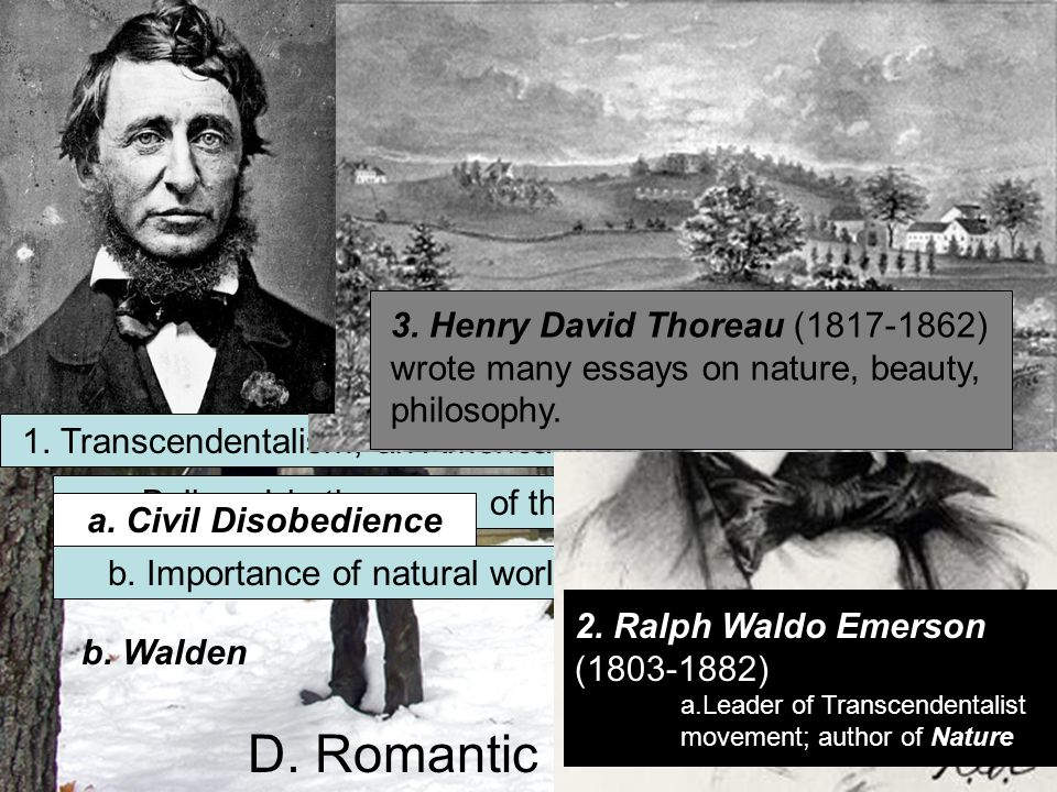 1. Transcendentalism, an American philosophy. a.