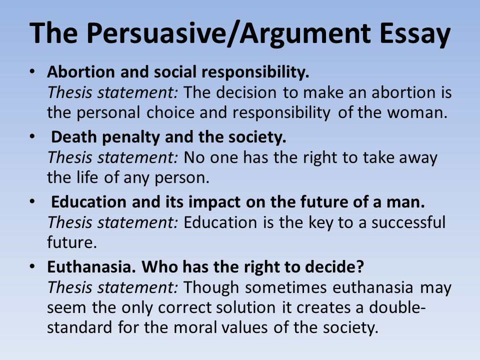 thesis statement of abortion Develop a strong, clear thesis statement with the proper elements revise your thesis statement abortion racism examples of appropriate thesis statements.