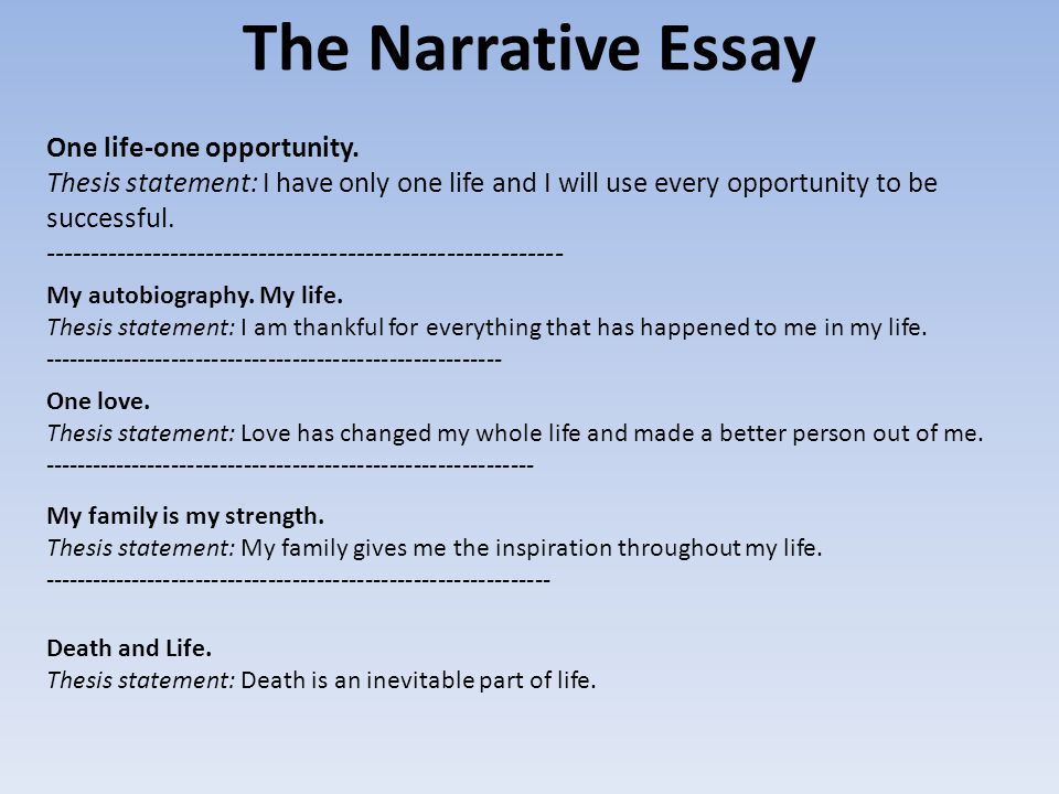 March    Mugs Shot  Thesis Statements  Homework  The Narrative Essay One Lifeone Opportunity