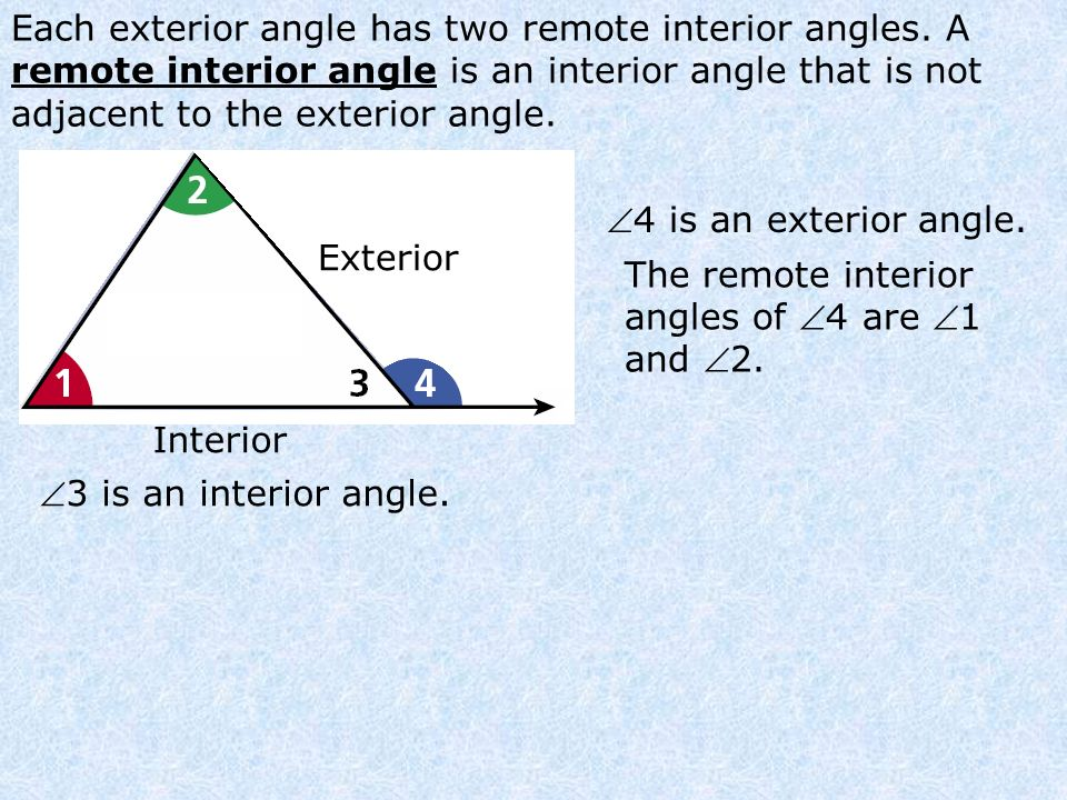 Angle Relationships in Triangles Holt Geometry Lesson Presentation