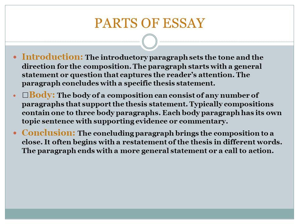Parts of essay