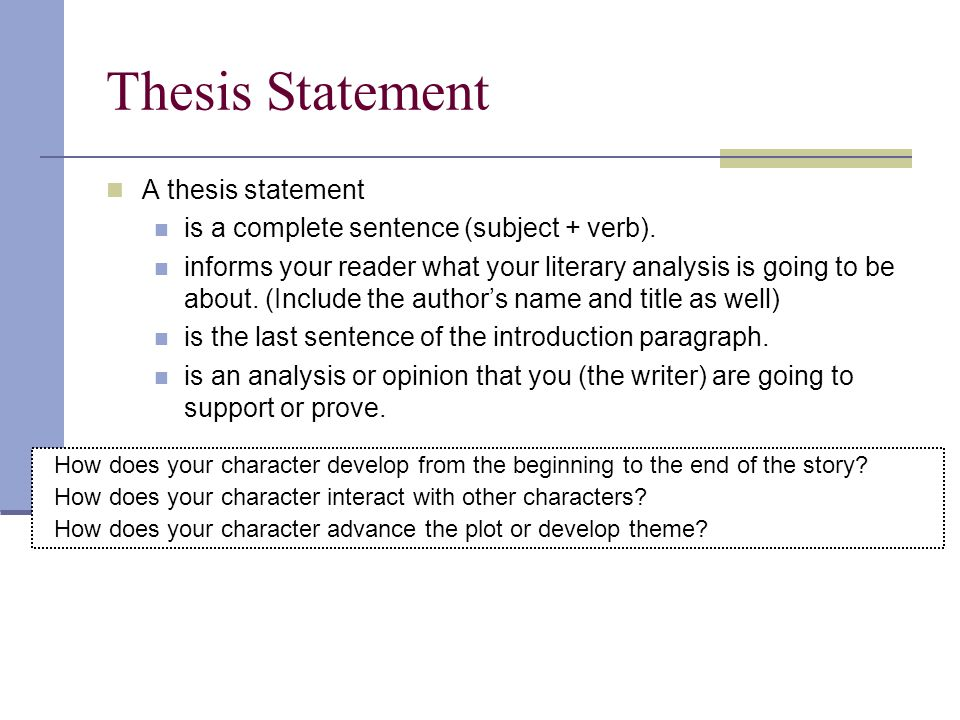 character analysis thesis sentence