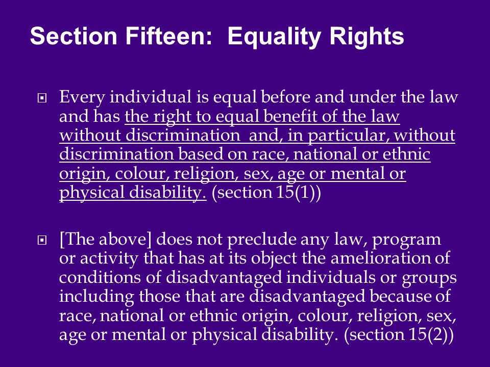  Every individual is equal before and under the law and has the right to equal benefit of the law without discrimination and, in particular, without discrimination based on race, national or ethnic origin, colour, religion, sex, age or mental or physical disability.