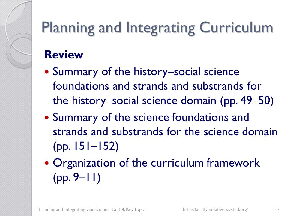 Planning and Integrating Curriculum Planning and Integrating Curriculum: Unit 4, Key Topic 1http://facultyinitiative.wested.org/3