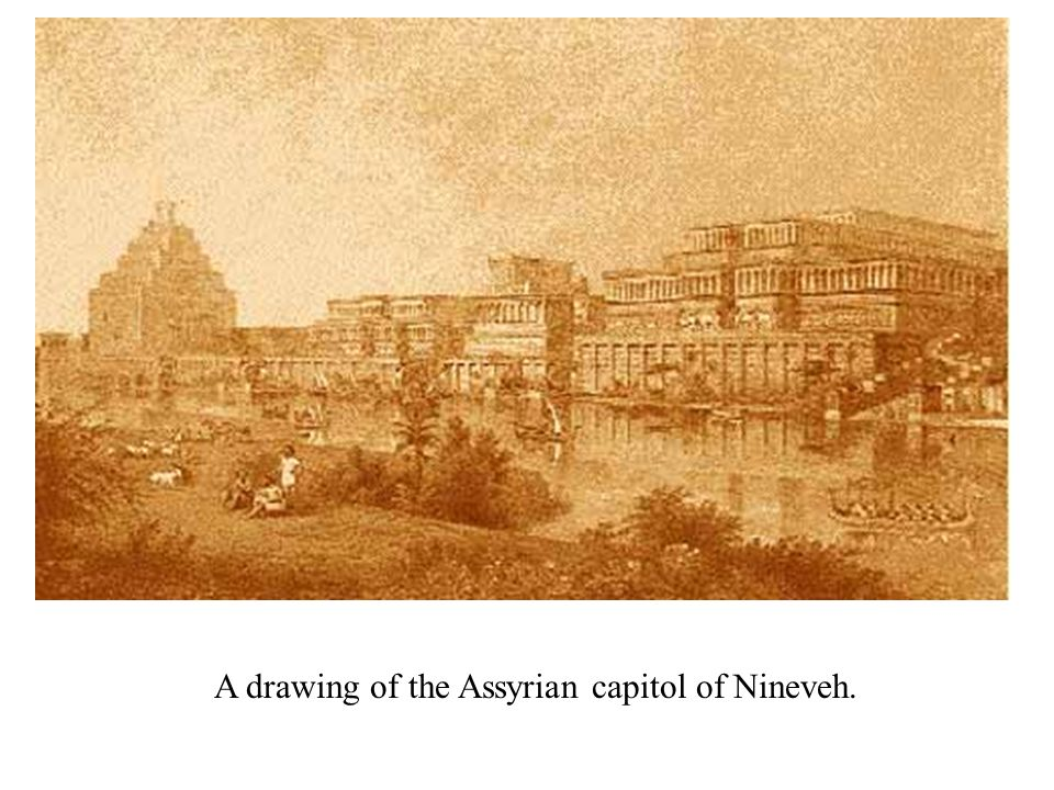 A drawing of the Assyrian capitol of Nineveh.